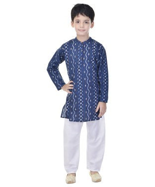 Soundarya Cotton Blue Printed Kurta and Payajama