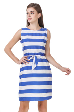 Fashians Blue and white striped sleeveless dress $ FS-1700002