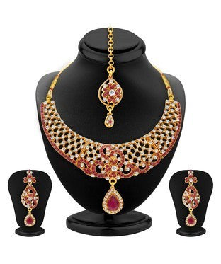 Sukkhi Magnificent Gold Plated AD Necklace Set For Women