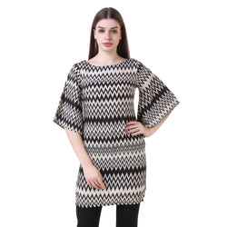 Fashians Black Fit and Flare Zig-Zag Dress $ FS-1700050