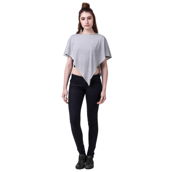 Fame 16 Short Sleeves Women's Grey Cotton Solid Capes $ F16-1600164
