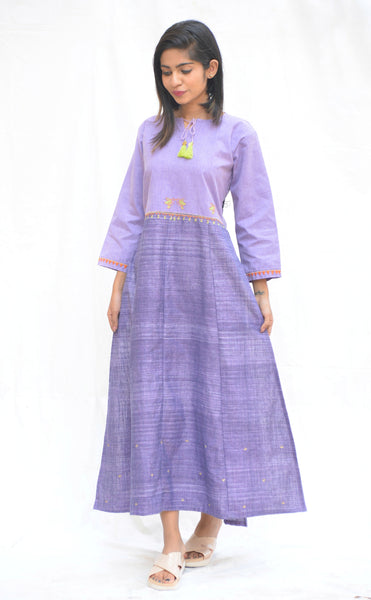 Purple Khadi Cotton High Slit Bird Tunic $ IWK-00595