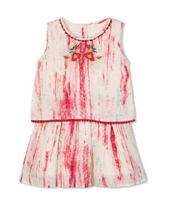 Budding Bees Girls Off White Embroidered Layered Dress