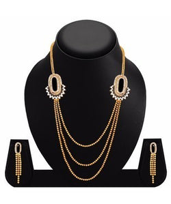 Sukkhi Bewitching Three Strings Gold Plated AD Necklace Set For Women