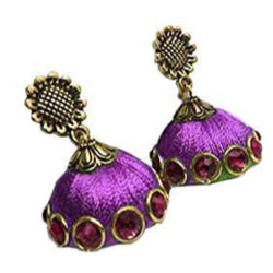 Ailsie Stylish Jhumka Earrings For Women Fashion Beautiful Sliver Antique Flower Design Silk Thread Earring - Violet