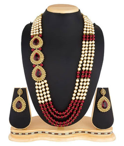 Gold Plated Alloy Metal Hand Crafted Work Women's New Red Chhagan Necklace set $ AF788622