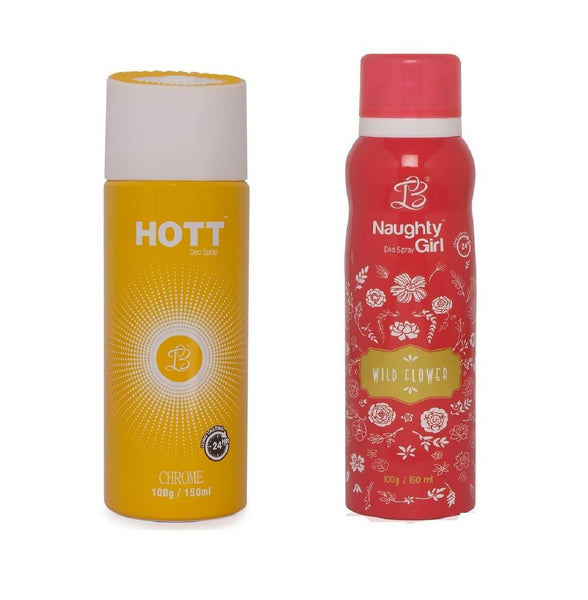 HOTT Mens CHROME & Naughty Girl WILD FLOWER - (Set of 2, No Gas Deodorant for Couple) (150ml each)