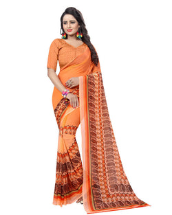Muta Fashions Women's Unstitched Georgette Orange Saree $ MUTA1539