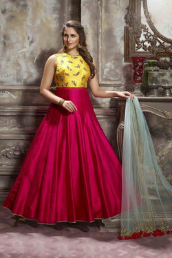 Manvi Fashion Women's Banglori Fabric Pink And Yellow Color Handworked Gown $ MF 1573