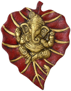 International Gift Aluminium Ganesh Leaf Wall Hanging (12 cm x 12 cm x 4 cm, Red) $ GSI-149