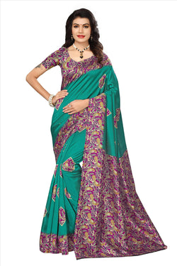 BL Enterprise Women's Bhagalpuri Cotton Silk Kalamkari Green Color Saree With Blouse Piece $ BLLB-37