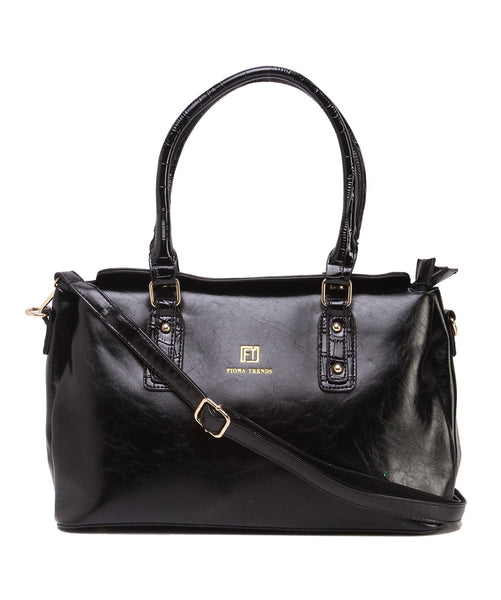 Fiona Trends Black PU Shoulder Bag,104_BLACK
