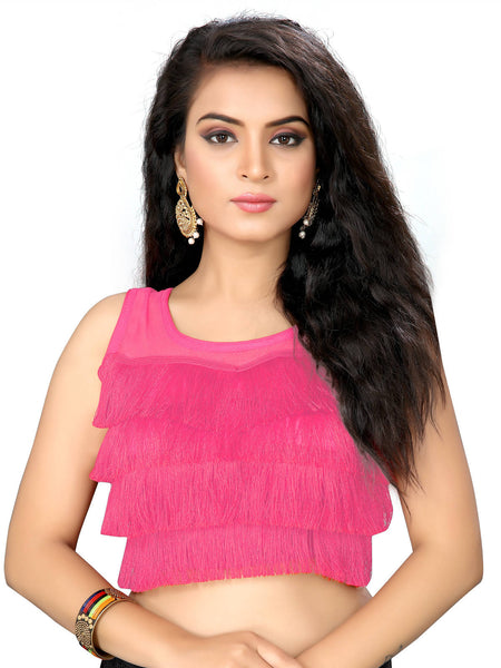 YOYO Fashion Pink Silk Solid Blouse & YO-BL4010