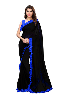 YOYO Fashion Georgette Plain Black saree with Blose $ SARI2654-Blue