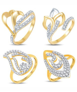 Sukkhi Valentine Collection Graceful Gold & Rhodium Plated CZ Combo With Rose Box For Women Pack Of 4
