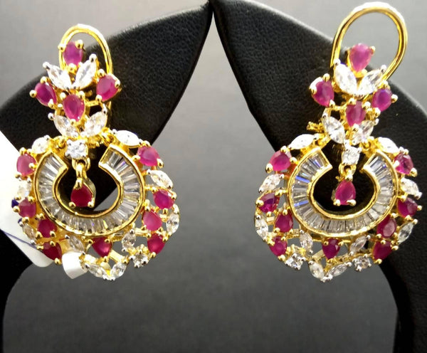 Gaurik Designer Earrings with white american diamonds & pink color stones $ Nilu_Jewel_142