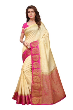 16to60trendz Beige and Pink Tusar Silk Handloom Art Work Kanjivaram saree $ SVT00028