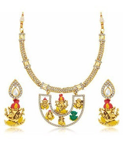 Sukkhi Youthful Ganapati Hand Painted Gold Plated AD Necklace Set For Women