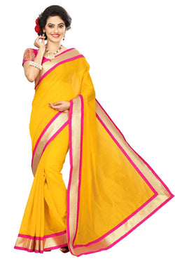 16to60trendz Yellow Chanderi Lace Work Chanderi Saree $ SVT00076