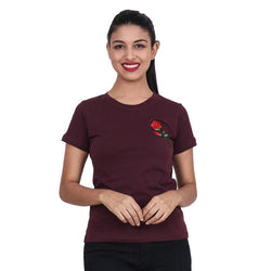 Second Half Mehroon Top with Rose Patch-SH0058