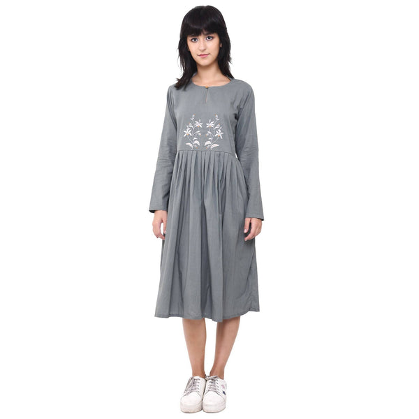 VRITTA Women's Cotton A-line Embroidered Pleated Dress $ VR0006