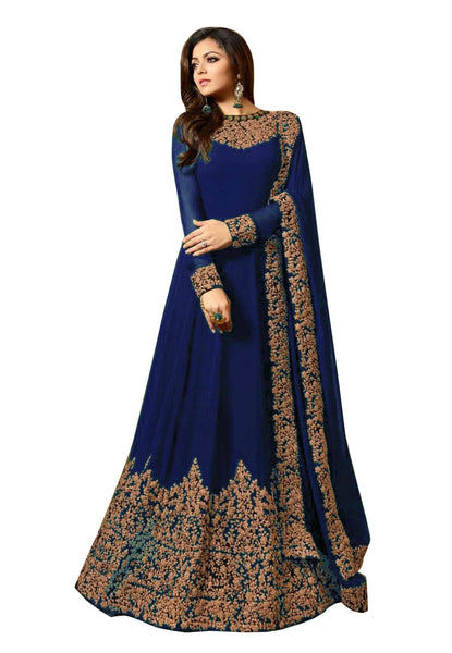 YOYO Fashion  Latest Fancy Semi-stitched Faux Georgette Embroidered Anarkali Salwar Suit $F1220-Blue