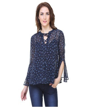 REDPOSE BLUE FLORAL CASUAL TOP