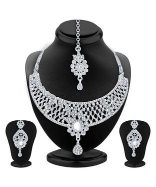 Sukkhi Marvellous Rhodium Plated AD Necklace Set For Women