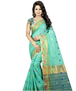 Moksha light green jacquard and cotton Designer saree