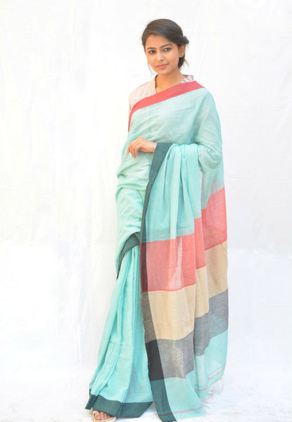 Light Blue and Onion Pink Khadi Cotton Saree $ IWK-BLU-01