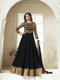 YOYO Fashion Stylish Designer Back Georgette Anarkali Salwar suit - Prachi_Black