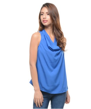 ENTEASE BLUE POLY CREPE TOP