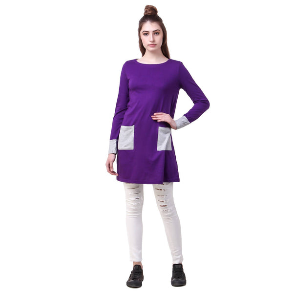 Fame 16 Long Sleeves Women's Purple Cotton Contrast Capes $ F16-1600165