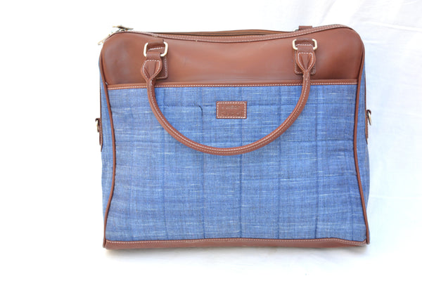 Classy Khadi Laptop Bag with Leatherite Handle $ IWK-LPBAG-07