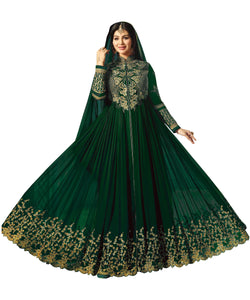 YOYO Fashion Semi-Stitched Designer Faux Georgette heavy Embroidred and Hand work Anarkali Suit $1194-Green