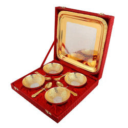 Gold Plated Bowl with Gold Plated Spoon and Gold Plated Tray (Set of 9 Pics, Gold) with Velvet Box Packing Exclusive Gift Items for Diwali Gift, Wedding Gift and Corporate Gift $ IGSPBR109
