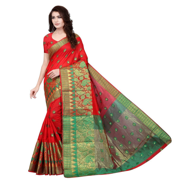 YOYO Fashion Designer Red  jacquard Fancy Party Wear Saree $F1245