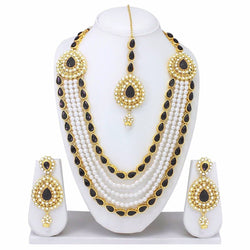 Gold Plated Alloy Metal Hand Crafted Work Women's Black Chhagan Necklace Set $ AF788617