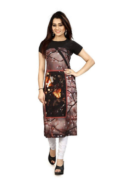Manvi Fashion Women's Designer Partywear Multi Color American Crepe Fabric Digital Printed Readymade Kurti $ MF 2827