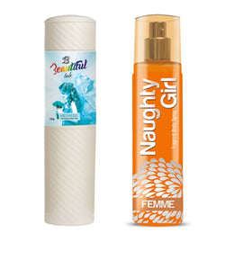 BEAUTIFUL TALC 250gm MESMERIC & Naughty Girl FEMME 135 ml (Set of 2 for Women)