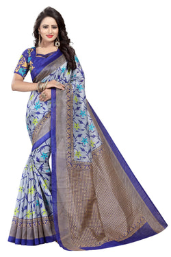 16TO60TRENDZ Grey Color Printed Bhagalpuri Silk Saree $ SVT00503