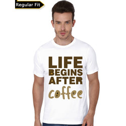 Partum Corde Premium Men's Modern Fit Round Neck T shirt LIFE BEGINS AFTER COFFEE $ LIFE BEGINS AFTER COFFEE3688