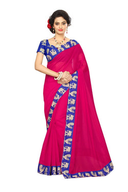 16to60trendz Pink Chanderi Lace Work Chanderi Saree $ SVT00087