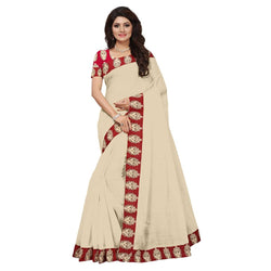 16to60trendz Beige Chanderi Lace Work Chanderi Saree $ SVT00142