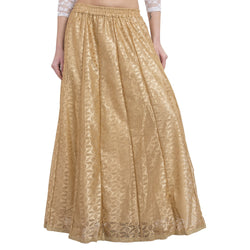 La Vastraa's Golden Net Self Design Long Skirt-LS030