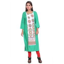 Chhapai 3/4 Sleeve Printed Green Straight Chanderi Kurti $ CK-1024