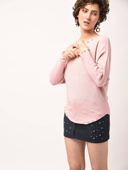 Aiyra Pink Color Wollen Pearl embellished curved hem top $ AR15801664_Free