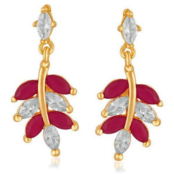 Tanishka Fashion Gold Plated Pota Stone with Austrian Stone Dangler Earrings $ FBE0014