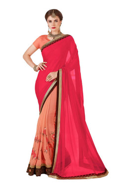 Muta Fashions Women's Unstitched Georgette Pink Saree $ MUTA1422
