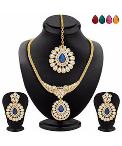 Sukkhi Trendy Gold Plated AD Necklace Set with Set of 5 Changeable Stone